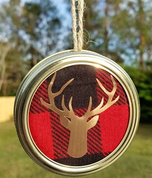 Red buffalo check w/ gold deer