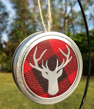 Red buffalo check w/ silver deer